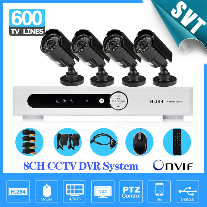 NVR Home 8CH H.264 Surveillance DVR 4pcs Weatherproof Security Camera CCTV System Kit, iphone Andriod remote view SNV-07<br><br>Aliexpress