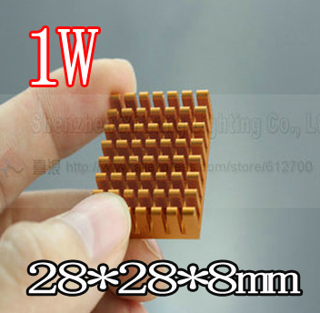 50pcs/lot 1w High power LED heat sink,28*28*8mm golden square radiator,for cooling 1W LEDS(China (Mainland))