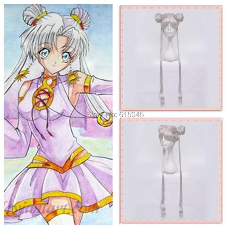 Free shipping!!! Tsukino Usagi/Sailor Moon Silver white Modeling style hair cosplay party wig(China (Mainland))