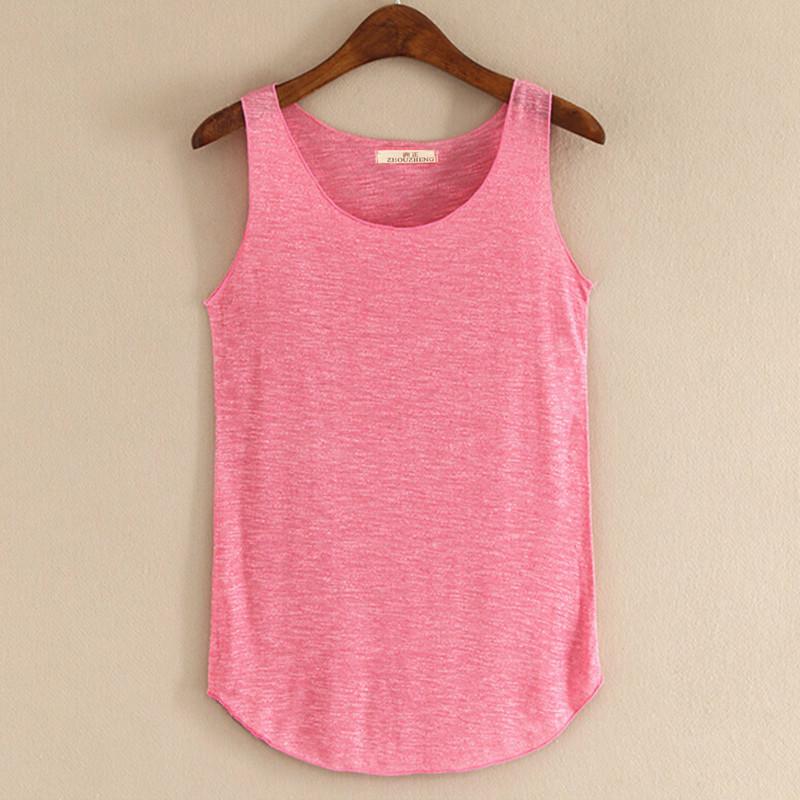 Spring Summer New Tank Tops Women Sleeveless Round Neck Loose T Shirt Ladies Vest Singlets