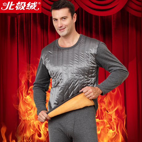 New 2015 autumn-winter wool gold double layer fashion men's thermo thermal underwears clothing set plus velvet long johns(China (Mainland))