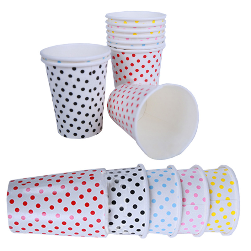 Paper Cups 10pcs/Lot Polka Dots Degradable Disposable of Wedding Kids Birthday Party Decoration Blue Red Pink Yellow(China (Mainland))
