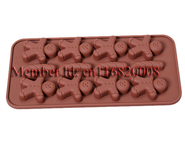 Free Shipping Gingerbread Man Kids Silicone Chocolate Muffin Mold Cake Decorating Jelly Candy Bakeware DIY