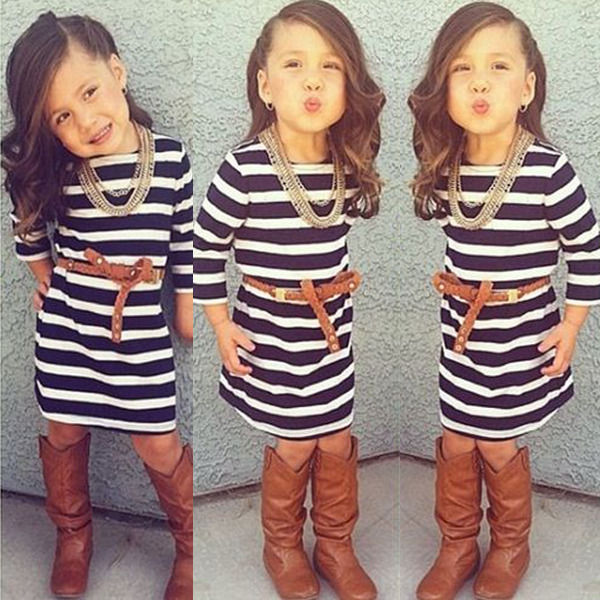 2015 Hot Sell Baby Girls Dress Striped Party Kids Summer Gown Formal Dress 2-7Y<br><br>Aliexpress