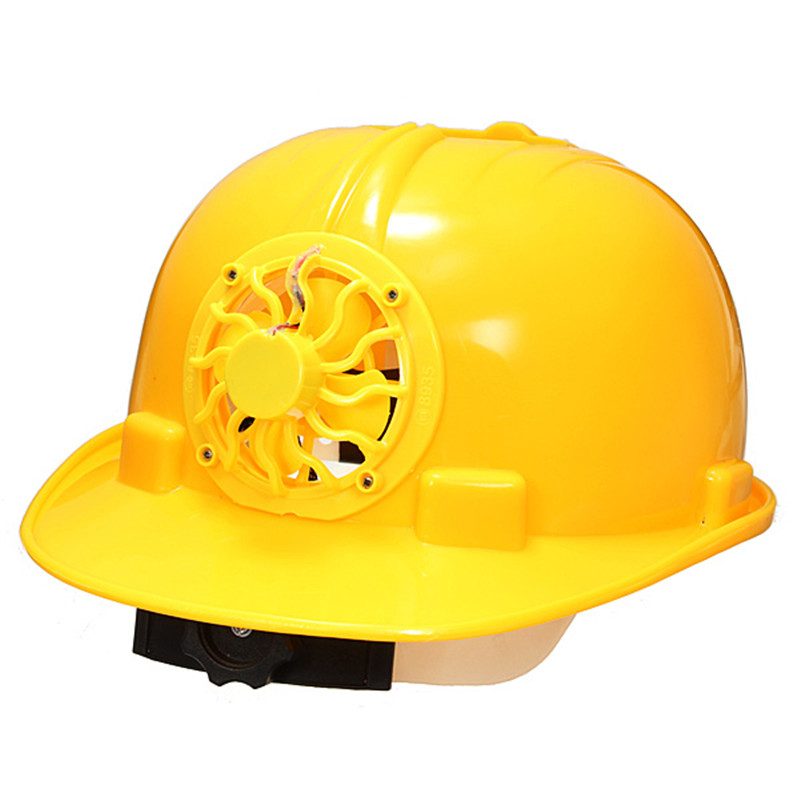 New Adjustable 0.3W PE Solar Powered Safety Security Helmet Hard Ventilate Hat Cap with Cooling Cool Fan Yellow