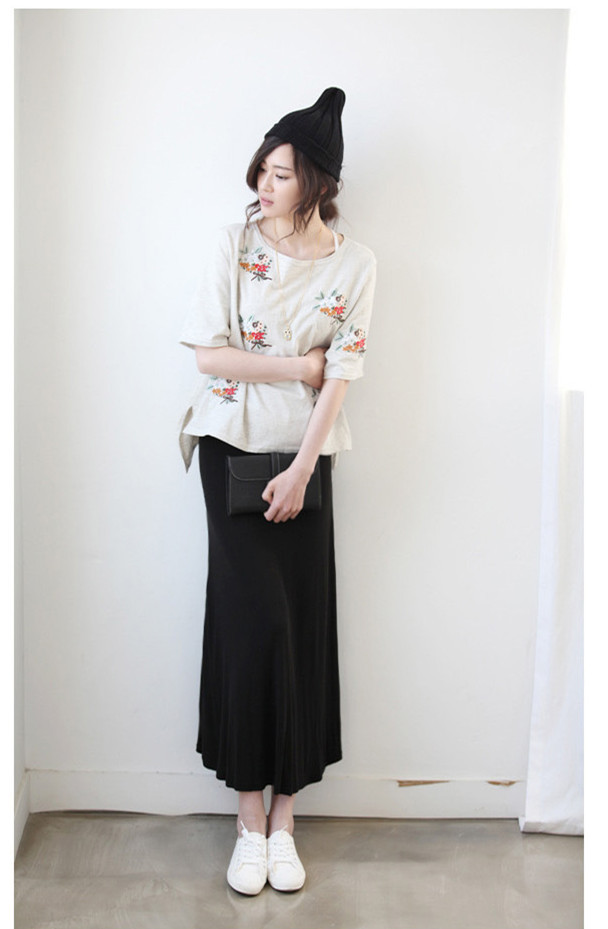 Hot Women Pure Cotton Black Swing Skirt High Quality Spring Summer Fashion Leisure A Type Thin