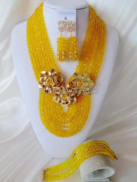 New Arrived Charming Yellow Crystal Beads Nigerian Wedding African Artificial Beads Jewelry Set Free Shipping CPS3873<br><br>Aliexpress