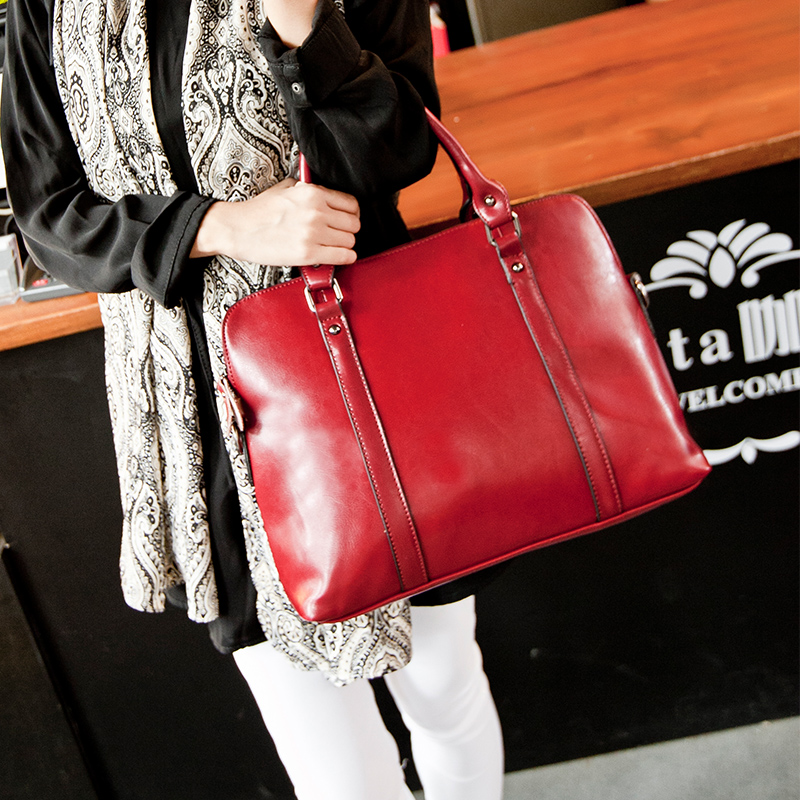 women genuine leather briefcase ol lady commercial large capacity shoulder tote bag cowhide documents portfolio laptop bag(China (Mainland))