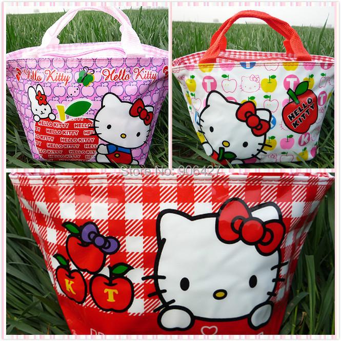 Girls 3PC Handbag Perfect lunch bag Cute Hello kitty Photo pattern(China (Mainland))