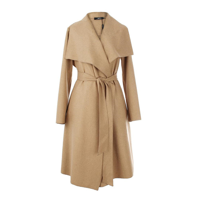 European and American Design Autumn Winter Woolen Women's Clothing 2015 Loose Casual Long Belted Cardigan Coat With Pockets(China (Mainland))