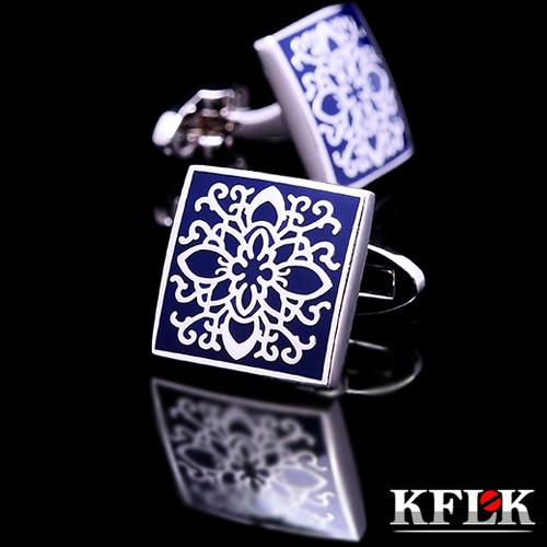 KFLK shirt cufflinks for mens Brand cuff buttons blue art cuff link top grade gemelos High Quality abotoaduras Designer Jewelry(China (Mainland))
