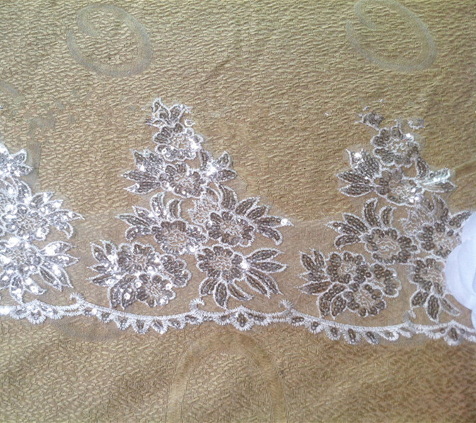 New arrived 6 yard white Sequins wedding lace trim dress fabric Dress, veil, head dress DIY embroidery lace Handmade jewelry(China (Mainland))