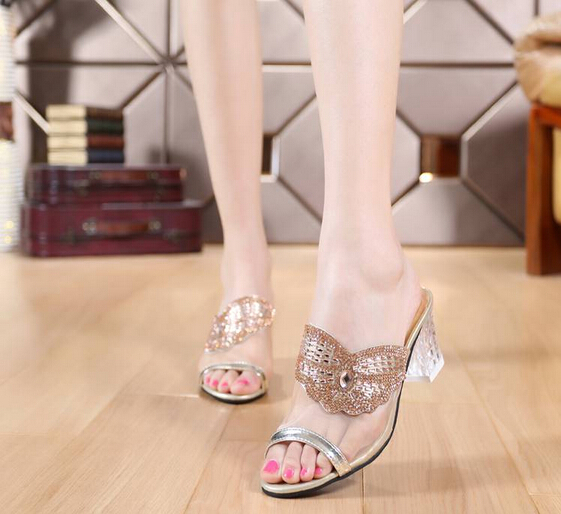 Hot 2015 summer new heavy-bottomed diamond mesh slippers fish head thick with high-heeled casual slippers female(China (Mainland))