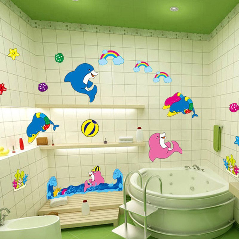 Kids Ocean Style Bathroom Toilet Kindergarten Children Room Decorative Wall Stickers China Mainland