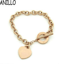 2016 Real Rushed Women High Quality Chain & Link Bracelets With 18 K Plated,stainless Steel Heart Shape Letter Bangle Jewelry (China (Mainland))