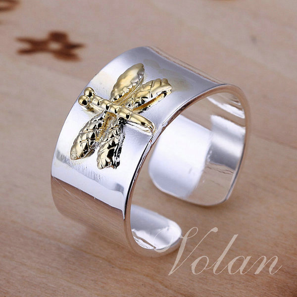 Promotion Wholesale White 925 Silver Costume Jewelery Bangle Butterflies Rings FREE SHIPPING! (KY011)(China (Mainland))