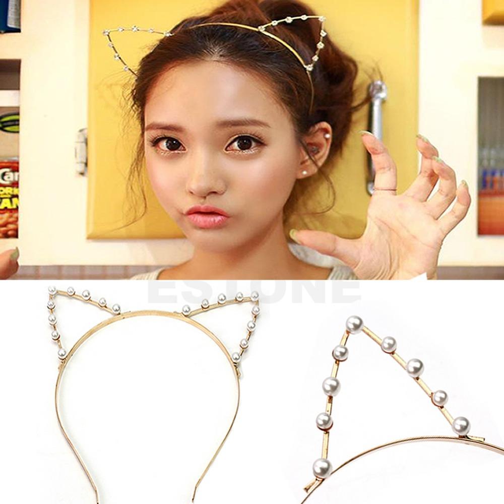 GRAU Silver/Golden Sexy Cat Ear Girl Head Band Beaded Fashion Hair Band Metal(China (Mainland))