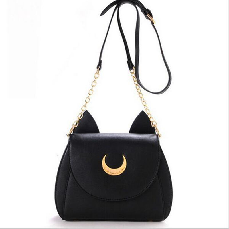 2016 New Summer Limited Sailor Moon Chain Shoulder Bag Ladies Luna Cat PU Leather Handbag Women