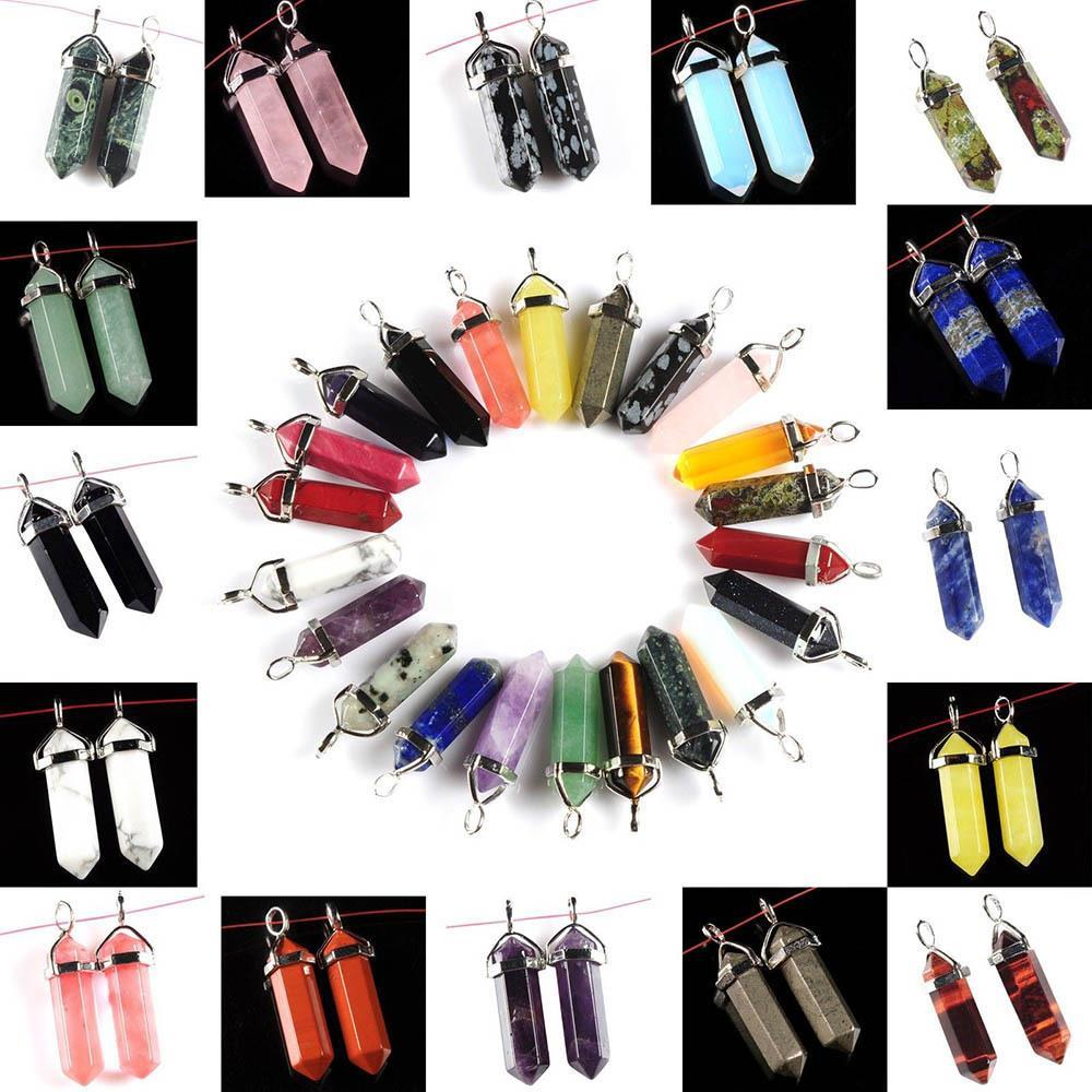 Hot Sales 1pcs 28 colors Natural Chic Jewelry Crystal Hexagonal Pointed Reiki Chakra Pendant Necklaces Beads(China (Mainland))