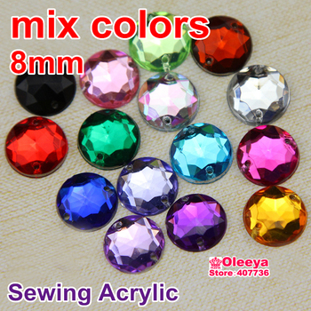 100pcs Mixed Colors Acrylic Sew On Rhinestones Flatback Sewing Beads Loose Stone For Women Dress Y3493
