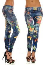 2016 Women Fashion Sexy Flower Butterfly Print Leggings Lmitation Leather Jeans Elastic Thin Denim Pencil Pants Summer B1 A50