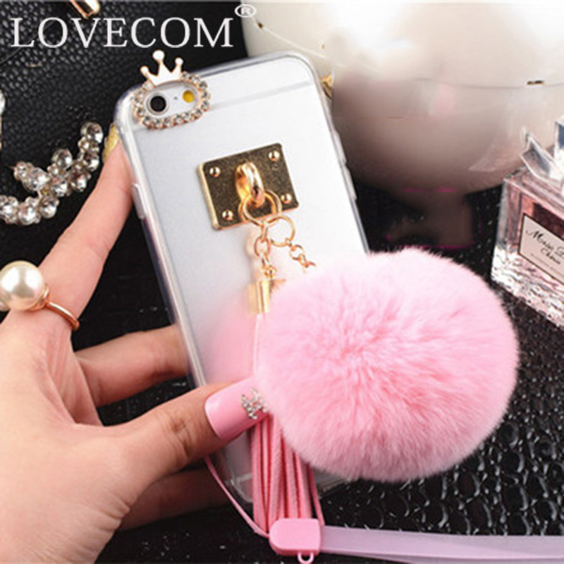 Fur Ball Tassel Charm For iPhone 5 5S SE 6 6S 6Plus 6SPlus Phone Case With Crystal Crown Rope Soft TPU Clear Phone Back Cover(China (Mainland))