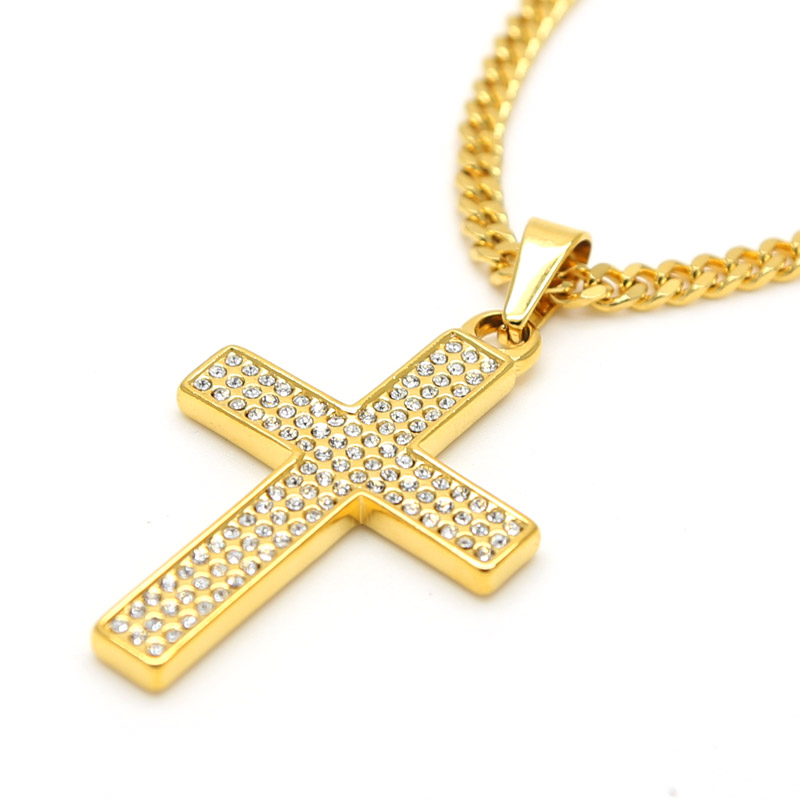 2016 Hot Sale Cross Pendant Necklace 18K Gold Plated Flat Chain Mens Bling Iced Out Jewelry Fashion Design High Quality(China (Mainland))