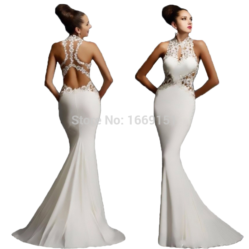 In stock white chiffon a line prom dress halter 2016 lace for Heart shaped mermaid wedding dresses