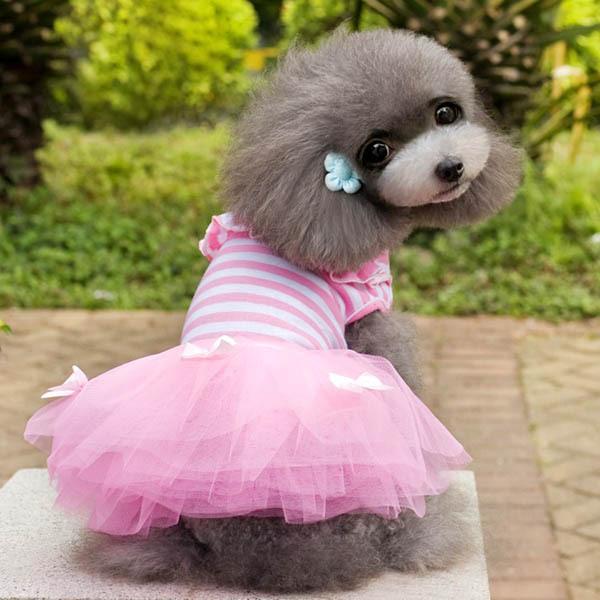 Pet Dress Clothes Lovely Pet Dogs Princess Dress Lace Bow Puppy Small Dog Tutu Dress(China (Mainland))
