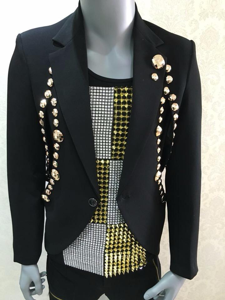 HTB1ift9LpXXXXbvapXXq6xXFXXXi - Fashion Black Men's Slim Casual Suits Set Male Rhinestone Rivets Stage Performance Blazers Nightclub Singer Jazz Prom Costumes