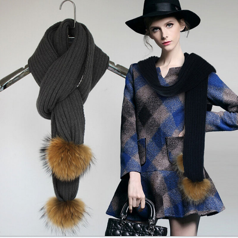 2015 New Long Scarves Stripe Pattern Knitted Wool Scarf Wtih Real Raccoon Fur Pompom Winter Neck Wear Accessories Women Men(China (Mainland))