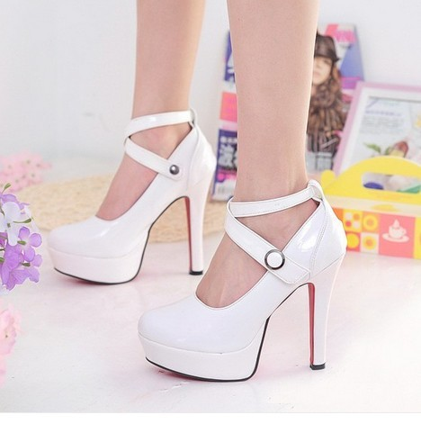Sexy Charming Chic X-Straps Platform Slender Killer Heel Pump Patent leather PU