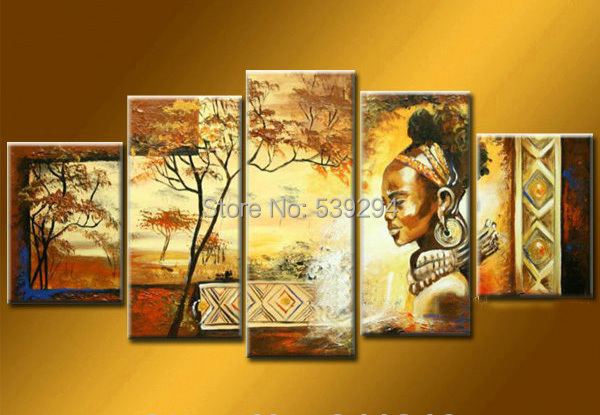 Free shipping 100% hand-painted wall art African home decoration Landscape oil painting on canvas 5pcs/set with framed(China (Mainland))