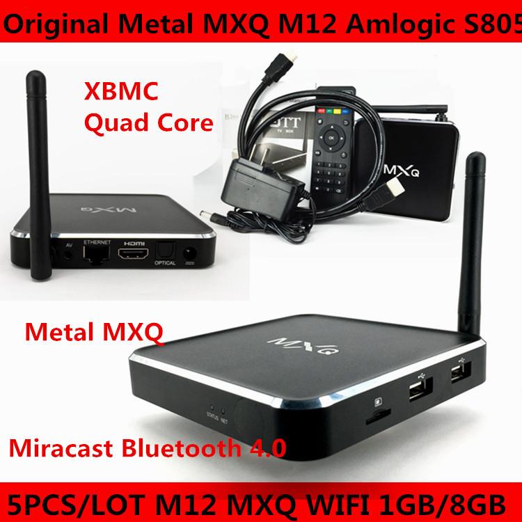 2015 HOT High Quality Original Metal MXQ TV BOX M12 amlogic S805 quad core 1GB 8GB H.265 Android 4.4 xbmc skype External antenna(China (Mainland))