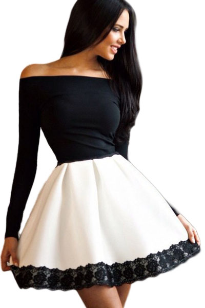 Dear Love Hot Black White Spliced Bateau Neck Lace Off Shoulder Long Sleeve Skater Dress Vestido Robe Hiver Dating dress LC22542(China (Mainland))