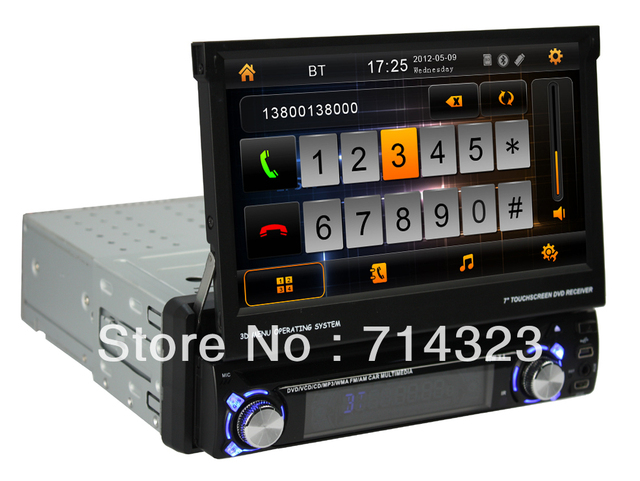 1 din Android 4.4 car dvd Player with GPS Car Radio 7 inch WIFI 3G 3D UI PIP SWC BT IPOD TV USB/SD