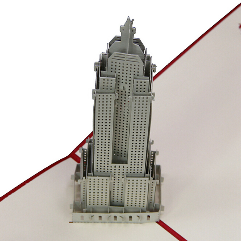 (5 pieces/lot)Handmade New York City Empire State Building Creative Greeting Card 3D Engraving Pop Up Paper Card Wholesale(China (Mainland))