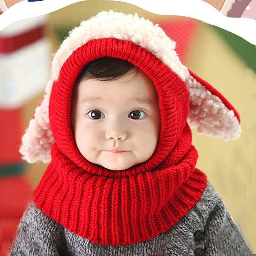 Baby Winter Hat 1 Pcs Scarf Hat Cute Winter Warmer With Ear Crochet Costume Baby Bonnet Enfant #2989(China (Mainland))