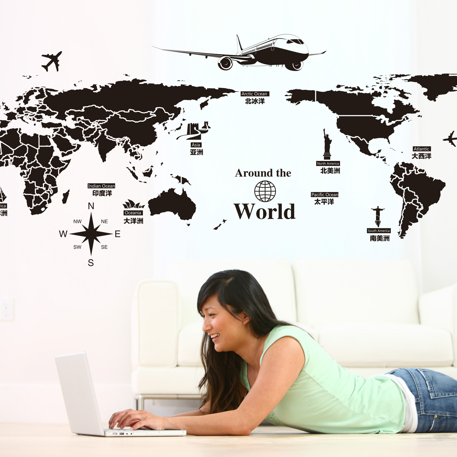 Foreign Trade Removable Wall Stickers Creative World Tour World Map Factory Outlets(China (Mainland))