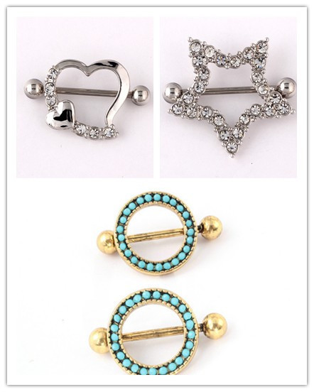 Retail 1 Pair Nipple Rings Surgical Steel Love Heart Star Nipple Shields Bar Nipple Rings Body Piercing For Women Jewelry Gifts(China (Mainland))