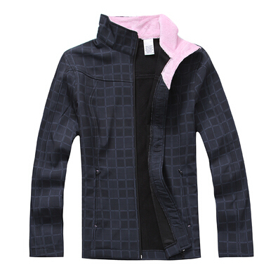 New Women's Outdoor slim plaid soft shell fleece clothing outdoor jacket 0.5 3411(China (Mainland))