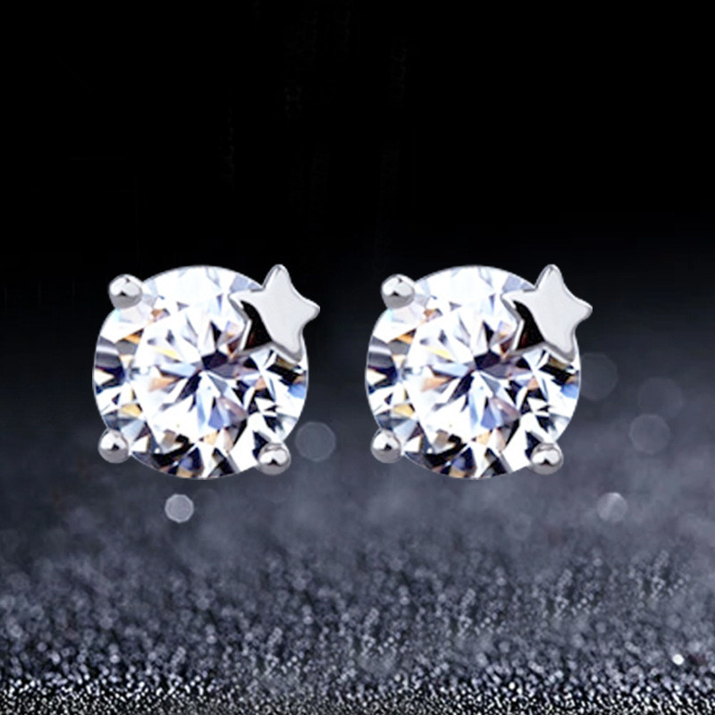 You Xingyuan lovely Ms. earrings 925 sterling silver ear jewelry new authentic Korean Korean version from the stars(China (Mainland))