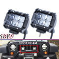 Pair 18W 4 Led SPOT Driving Light bar 4D Fish Eye Projector Lens UTE ATV SUV