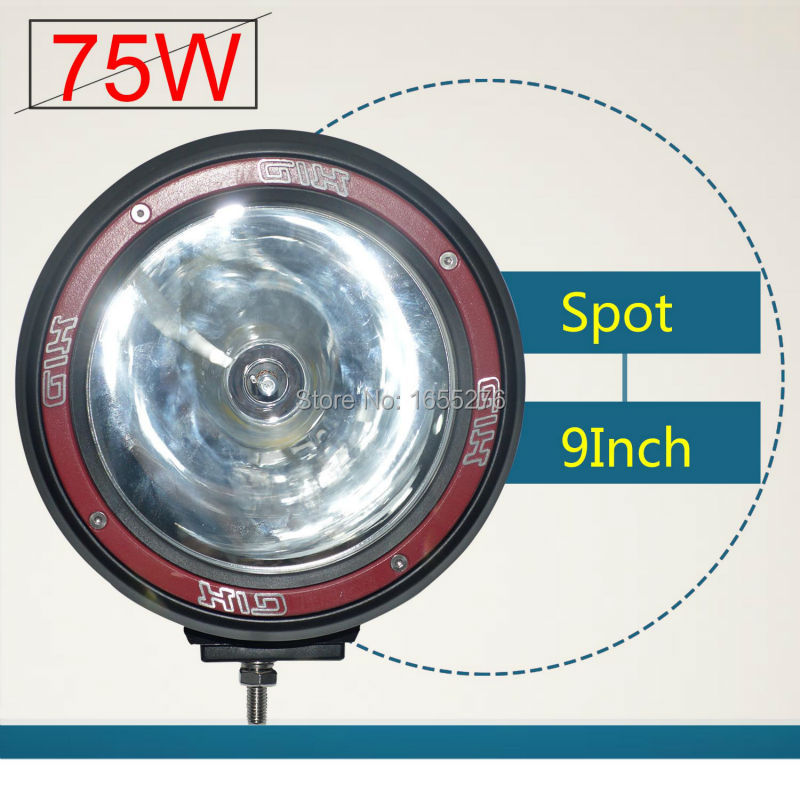 Taitian HID Work Light 9Inch 75W Spot Driving Work Lamp Off-Road SUV Car Boat Lamps Black Red light shell(China (Mainland))