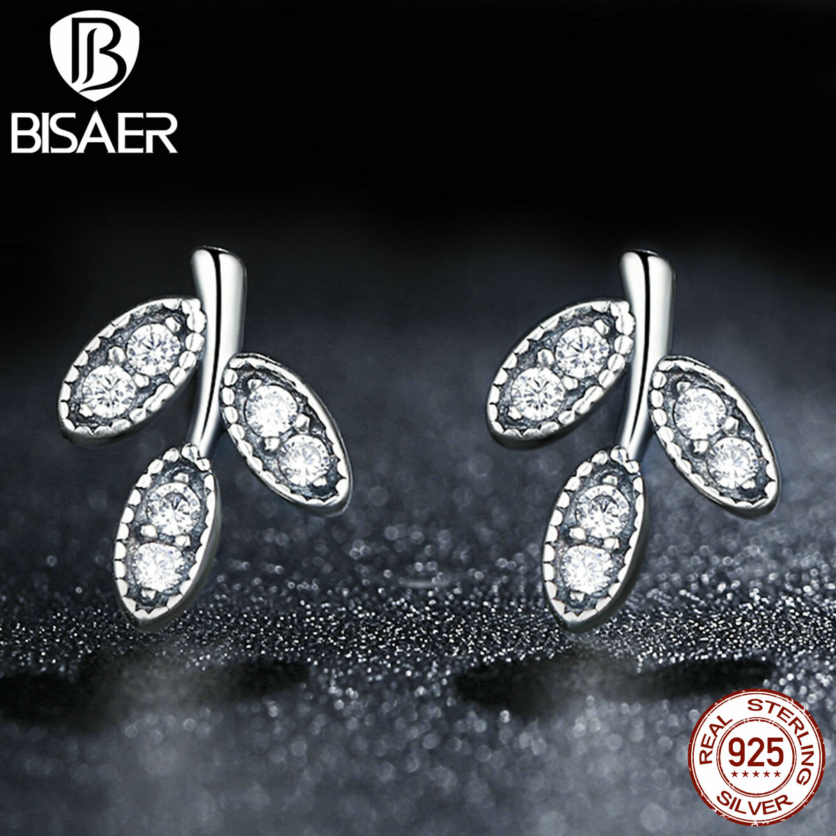 2016 Presents 925 Sterling Silver Sparkling Leaves Stud Earrings Clear CZ Compatible with Pandora Jewelry Special Store(China (Mainland))