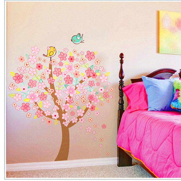 wholesale new styling home decor wall sticker/home decoration cherry blossoms stickers fit for children room and bedroom1131(China (Mainland))