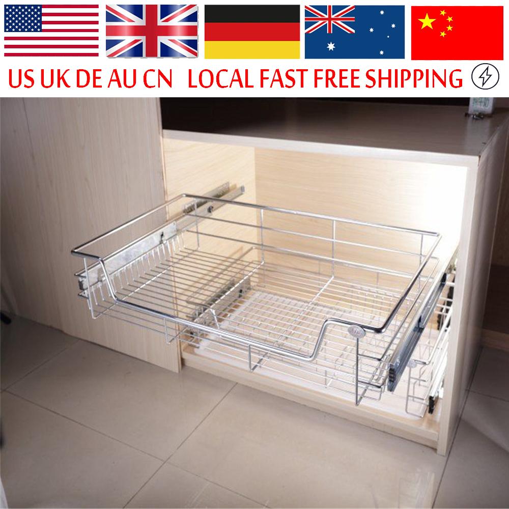 Under Shelf Storage Basket Kitchen Pantry Pull Out Sliding Metal Basket Drawer Storage Cabinet Organiser(China (Mainland))