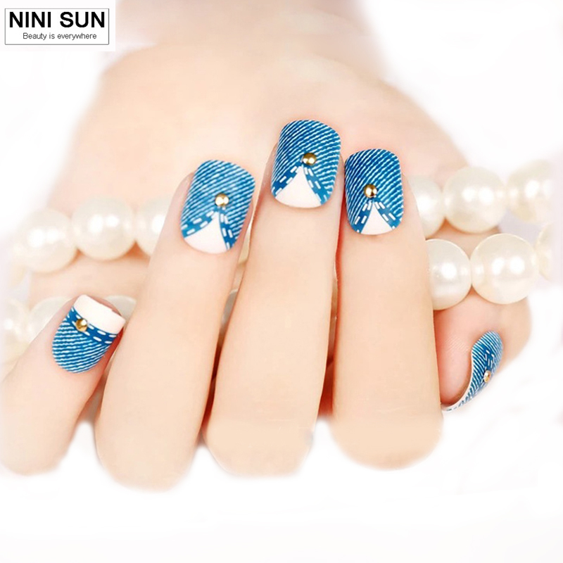 Hot Selling 24PCS French Short Design Full Cover Art Fake Nails Blue Jeans Fake Manicure Set Colored Acrylic Nail Tips Beauty(China (Mainland))