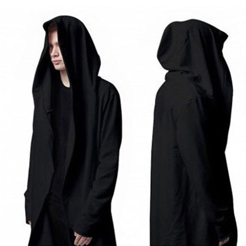 Popular Men Black Trench Coat with Hoodie-Buy Cheap Men Black