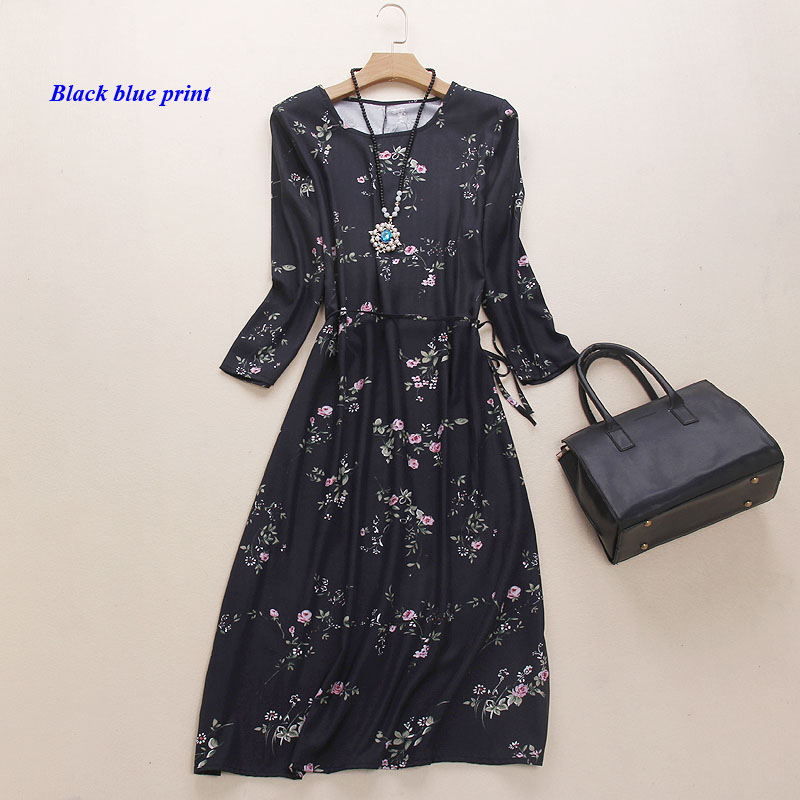 100% natural silk print summer dress,heavy pure silk round-neckline dresses,pure spun silk three-quarter sleeve women dress